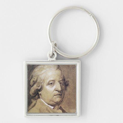 Retrato del rey de Louis XVI de Francia Llavero Cuadrado Plateado