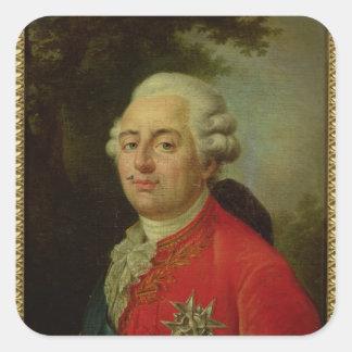 Retrato del rey de Louis XVI de Francia Pegatina Cuadrada