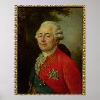 Retrato del rey de Louis XVI de Francia Póster