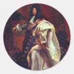 Retrato del rey francés Louis Xiv de Rigaud Hy Etiquetas Redondas