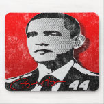 Retrato del rojo de Barack Obama Tapetes De Ratones