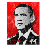 Retrato del rojo de Barack Obama Tarjeta Postal