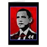 Retrato del rojo de Barack Obama Tarjeton
