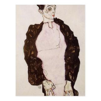 Retrato del Schiele-Uno mismo de Egon en lavanda y Postal
