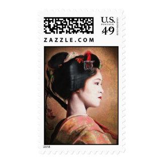 Retrato del sello oriental japonés del geisha