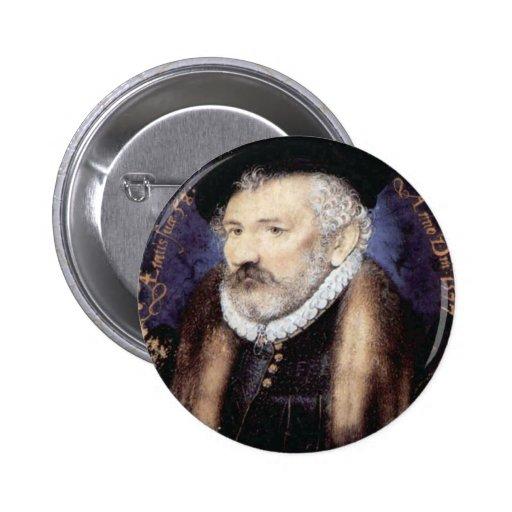 Retrato del senior de Nicholas Hilliard., 1577 Pin Redondo 5 Cm