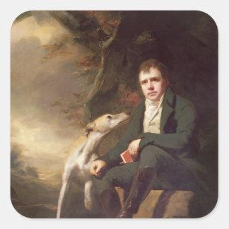 Retrato del sir Walter Scott y sus perros Pegatina Cuadrada