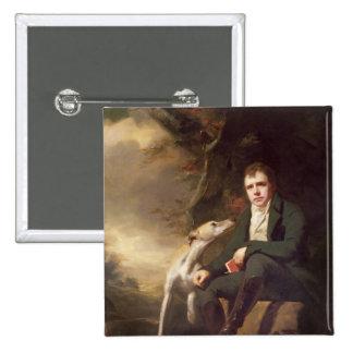 Retrato del sir Walter Scott y sus perros Pin Cuadrado