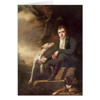 Retrato del sir Walter Scott y sus perros Tarjeta De Felicitación