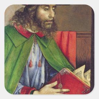 Retrato del Solon c.1475 Pegatina Cuadrada