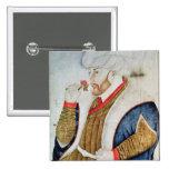 Retrato del sultán Mehmet II Pin Cuadrado