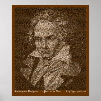 Retrato del texto de Beethoven Póster
