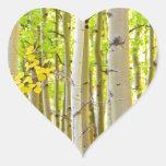Retrato del tiempo del otoño del bosque del árbol pegatinas corazon personalizadas