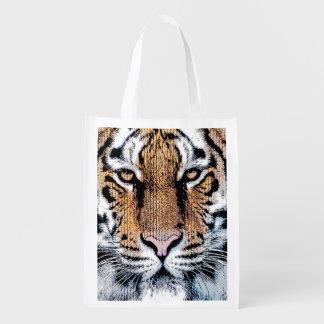 Retrato del tigre en estilo gráfico de la prensa bolsas reutilizables