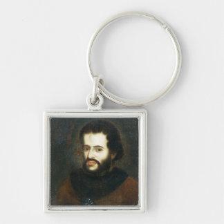 Retrato del Tsar Ivan el V Alexeyevich Llavero Cuadrado Plateado