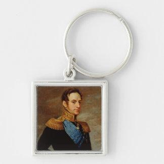Retrato del Tsar Nicolás I 1826 Llavero Cuadrado Plateado