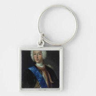 Retrato del Tsar Peter II Llavero Cuadrado Plateado