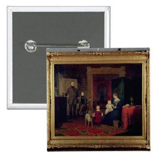 Retrato del Van Cortland Family, c.1830 Pin Cuadrado