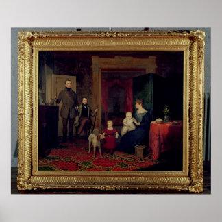 Retrato del Van Cortland Family, c.1830 Póster