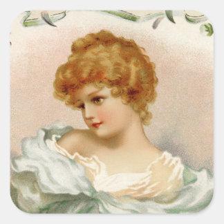Retrato del Victorian de una mujer joven Pegatina Cuadrada