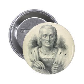Retrato del vintage de Cristóbal Colón Pin Redondo 5 Cm