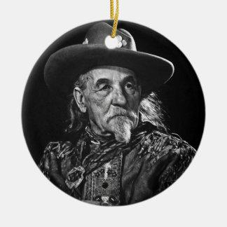 Retrato del vintage de Guillermo Buffalo Bill Cody Adorno Redondo De Cerámica