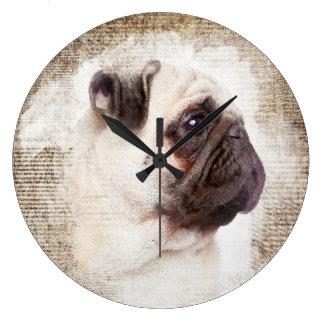 Retrato del vintage del barro amasado reloj redondo grande