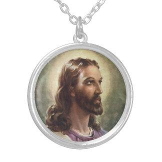 Retrato del vintage del Jesucristo, gente Collar Plateado