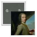 Retrato del Voltaire joven Pin Cuadrada 5 Cm