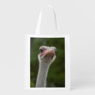 Retrato divertido de la avestruz que muestra el bolsa para la compra