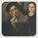 Retrato doble, c.1502 pegatina cuadradas personalizadas