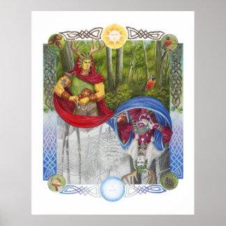 Retrato doble del rey del roble y del rey del póster
