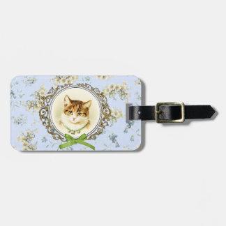 Retrato dulce del gato del vintage etiqueta para maleta