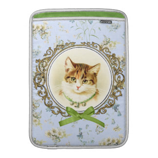 Retrato dulce del gato del vintage funda macbook air