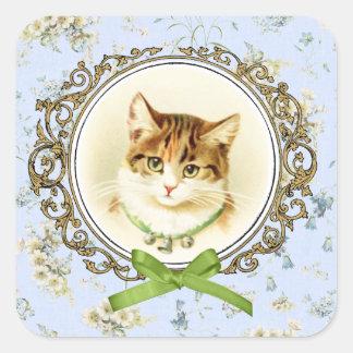 Retrato dulce del gato del vintage pegatina cuadrada