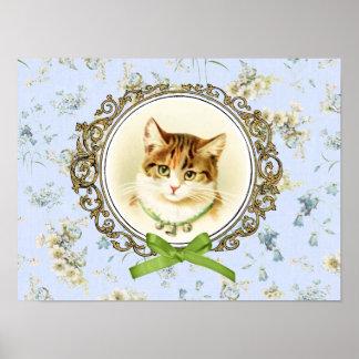 Retrato dulce del gato del vintage póster