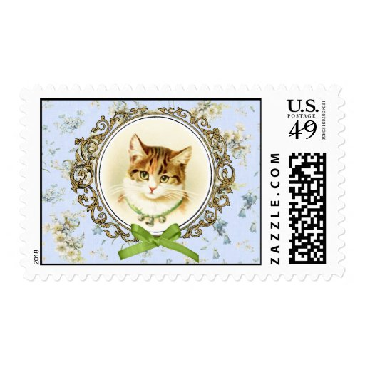 Retrato dulce del gato del vintage sellos