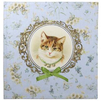 Retrato dulce del gato del vintage servilleta de papel