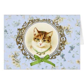 Retrato dulce del gato del vintage tarjeta de felicitación
