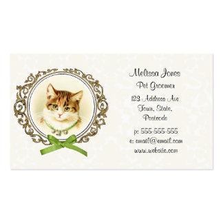 Retrato dulce del gato del vintage tarjetas de visita