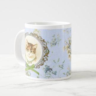 Retrato dulce del gato del vintage taza grande