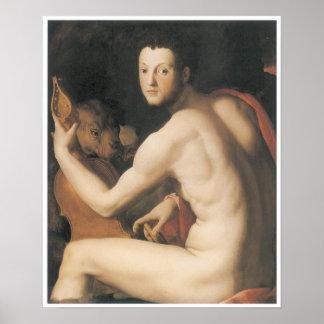 """Retrato duque medici de I Cosimo de """" como Orfeo Póster"""