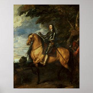 Retrato ecuestre de Charles I c.1637-38 Póster