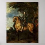 Retrato ecuestre de Charles I c.1637-38 Posters