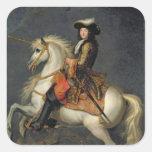 Retrato ecuestre de Louis XIV Calcomanías Cuadradases