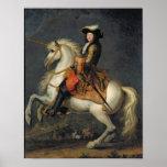 Retrato ecuestre de Louis XIV Póster