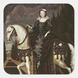 Retrato ecuestre de Marie de Medici Calcomanía Cuadrada