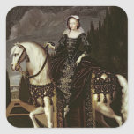 Retrato ecuestre de Marie de Medici Pegatina Cuadrada