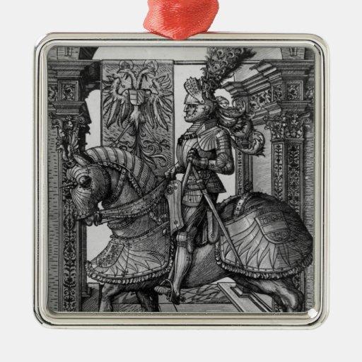 Retrato ecuestre de Maximiliano I c.1508 Adorno Cuadrado Plateado