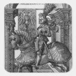 Retrato ecuestre de Maximiliano I c.1508 Pegatina Cuadrada